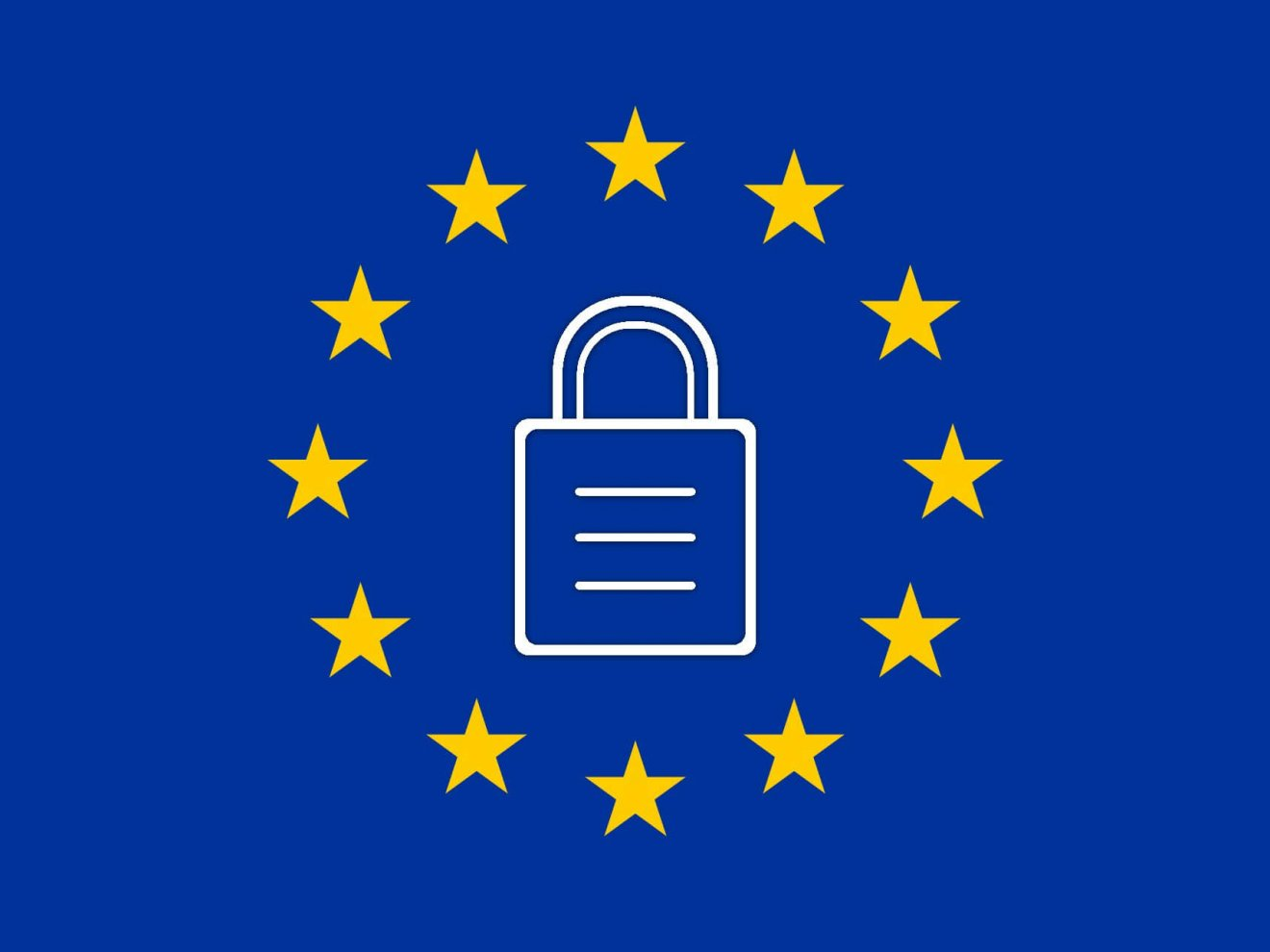 EU Flag with a padlock on it
