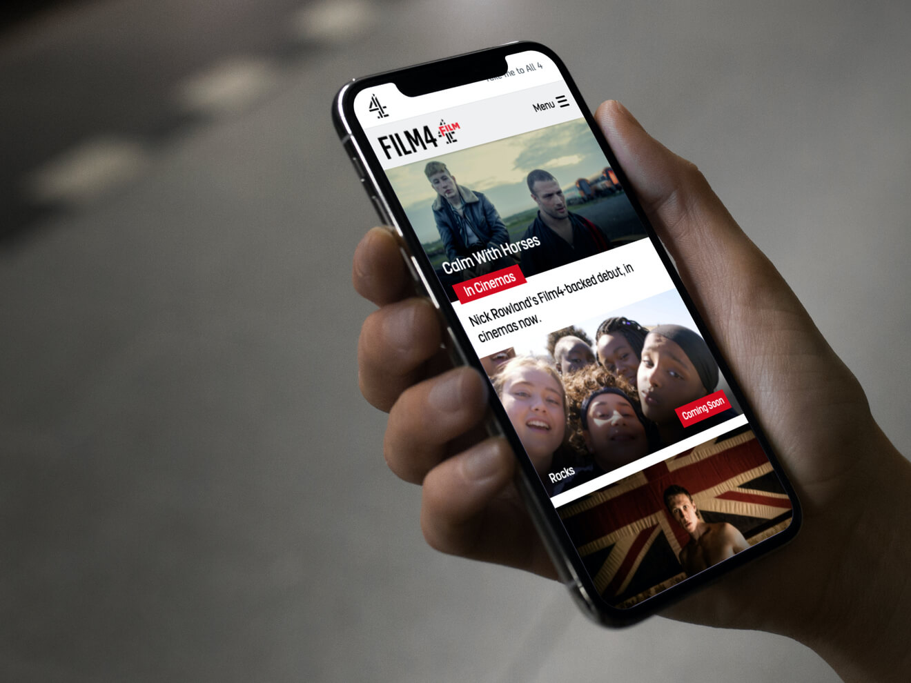 Film4 website in action on a phone