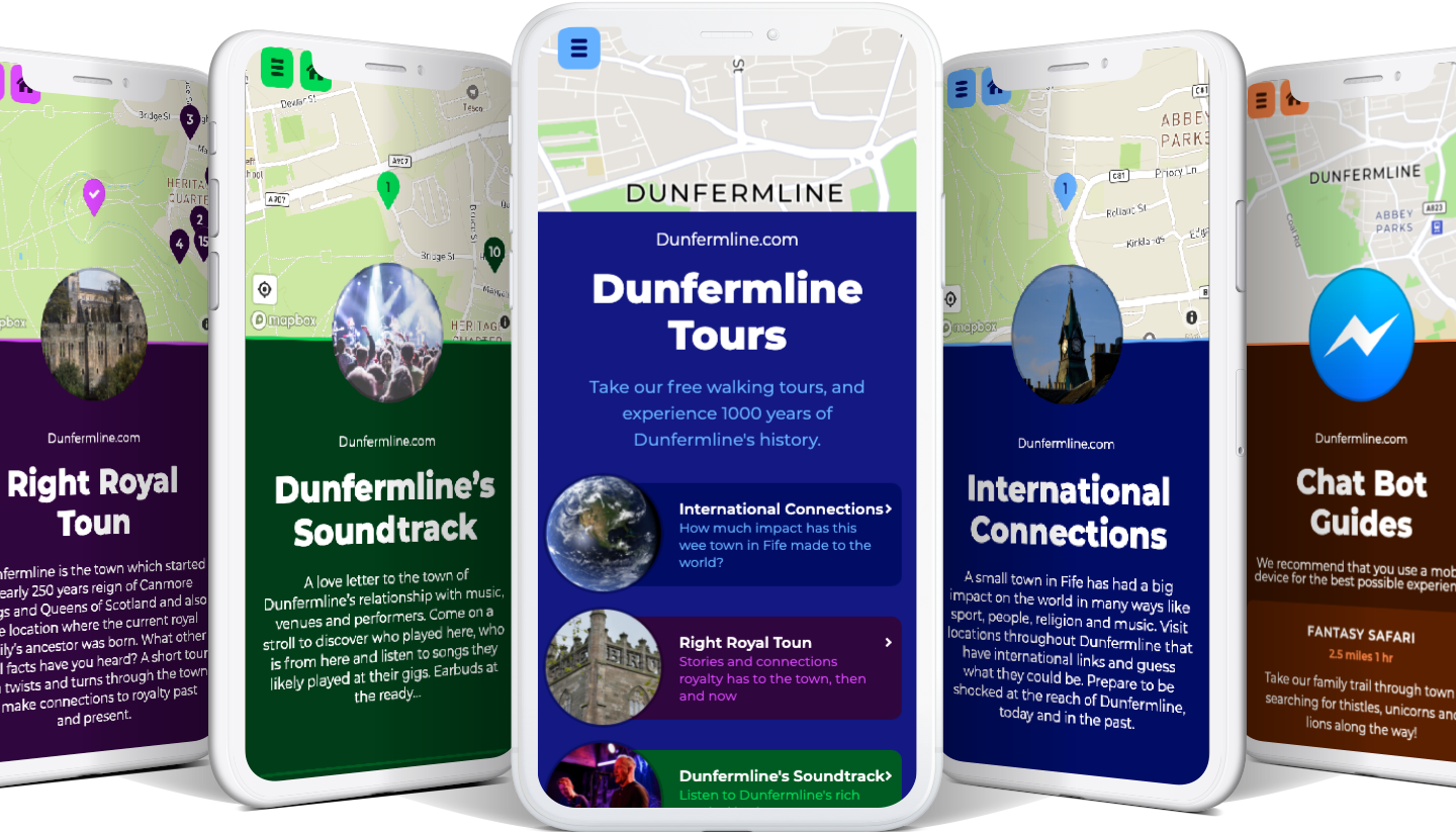 Various screenshots of the Dunfermline.tours app in action on phones