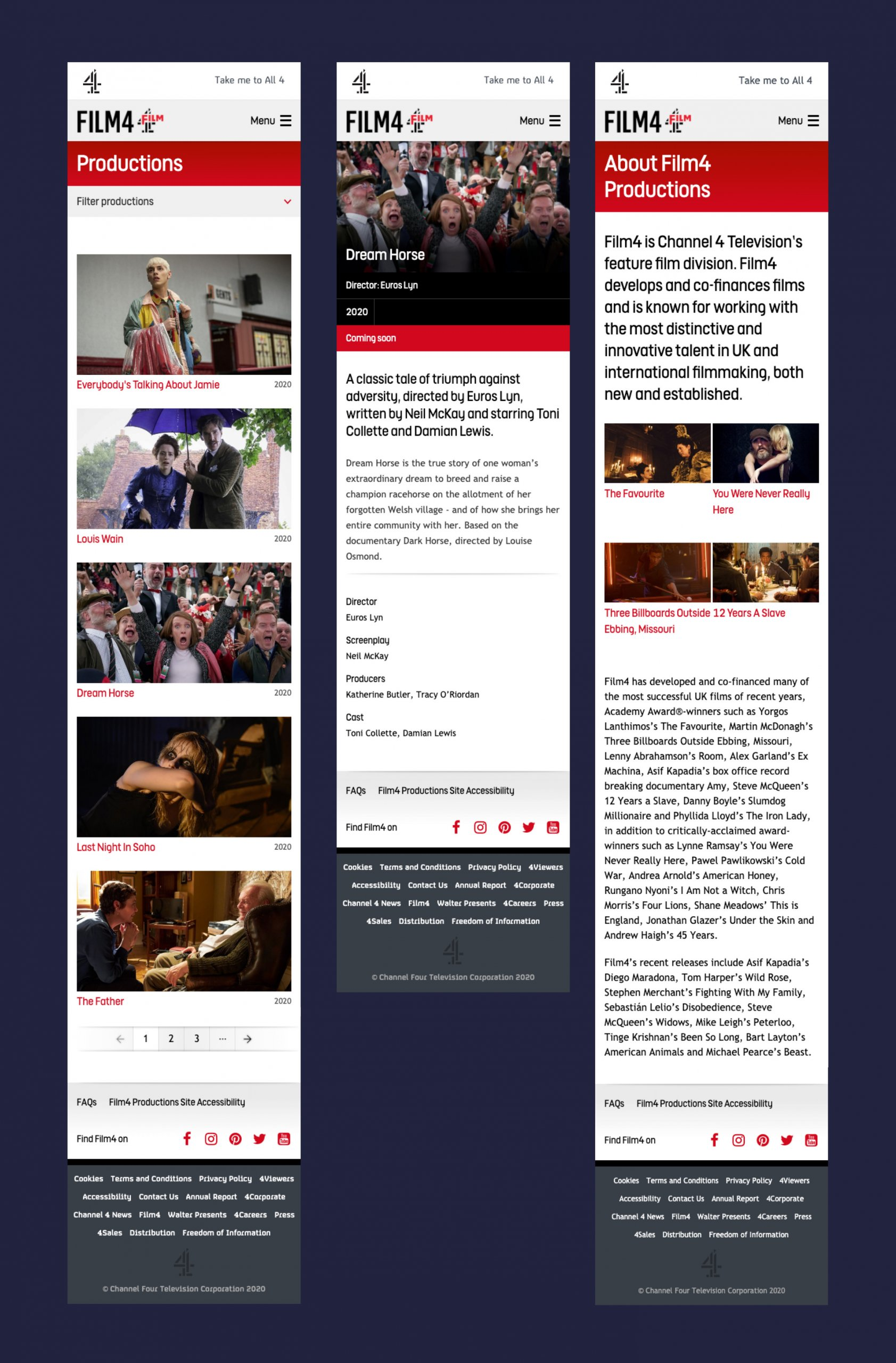 Screengrabs of the Film4 website
