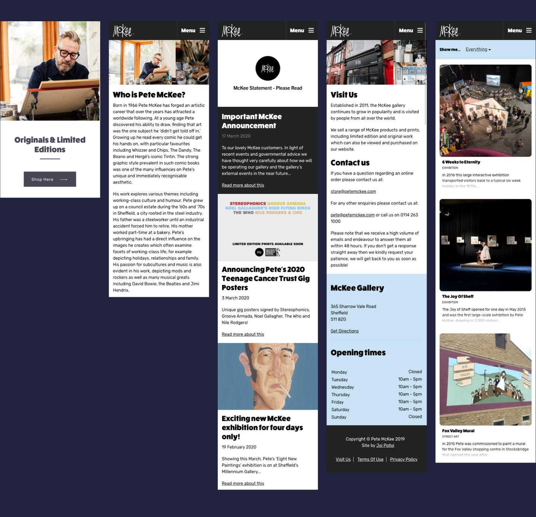 A screengrab of the Pete McKee website