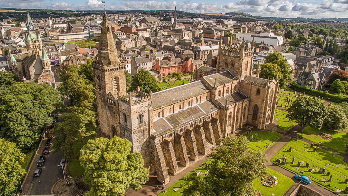 An aerial shot of Dunfermline Abbey