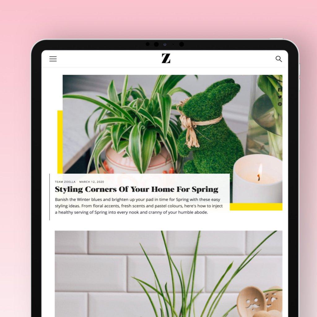Zoella website on an iPad